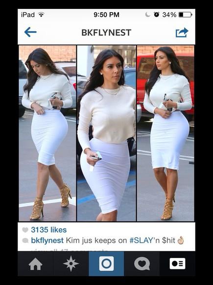 skirt kim kardashian white sweater off-white cropped sweater kardashians white