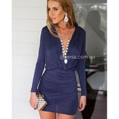 dress,xenia boutique,mini dress,long sleeve dress,navy,fashion