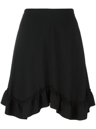 skirt ruffle women black silk