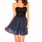 Black lace sweetheart neck strapless dress