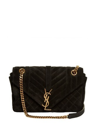 quilted bag shoulder bag suede black