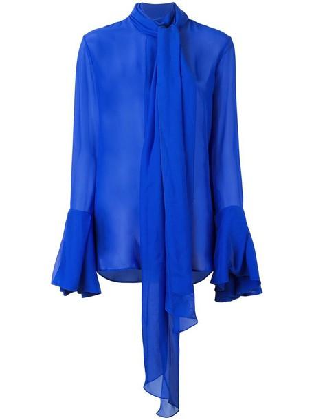 shirt bow sheer women blue silk top