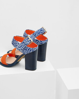 shoes ted baker statement shoes block heels block heel sandals orange blue printed sandals