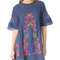Free people perfectly victorian embroidered mini dress - navy