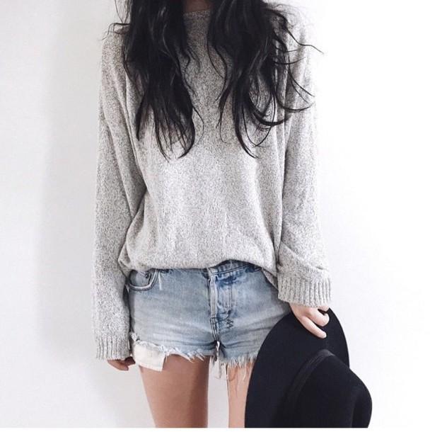 sweater grey sweater knitwear slouchy slouchy sweater