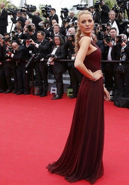 blake lively gown burgundy