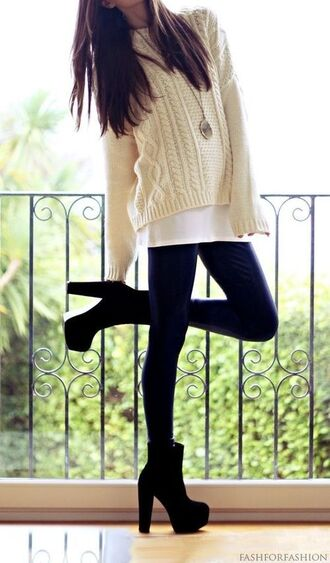 sweater winter outfits oversized sweater shoes clothes cute fall outfits black heels high heels high herls bootes cream knit loose fit sweater long sleeves heels on gasoline heel boots black heels shirt jewels ankle boots white