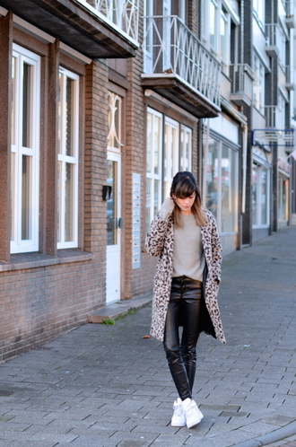 lovely by lucy blogger coat animal print leather pants
