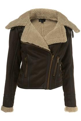 Faux sheepskin flying jacket