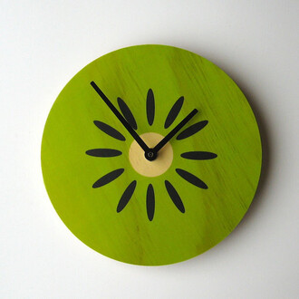 home accessory kiwi wall clock clock fruits tumblr cute green home decor