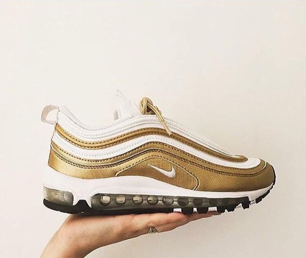 shoes air max 97 nike gold white metallic sneakers