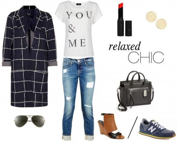 happily grey coat t-shirt bag shoes sunglasses jewels sweater skirt
