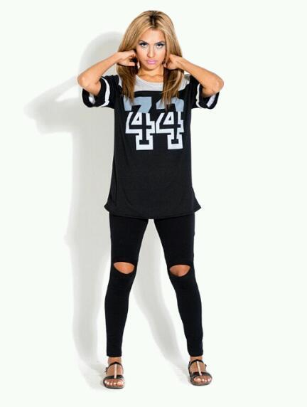 Black open knee leggings