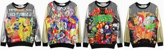 shirt cartoon graffiti sweatshirt pu sleeves clown monster colorful choies