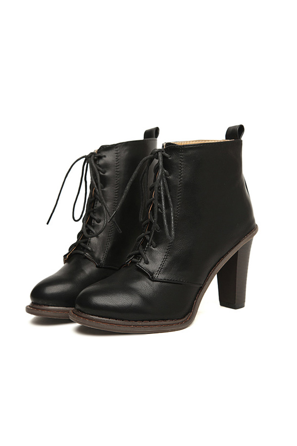 Block Heel Lace-up Ankle Boots - OASAP.com