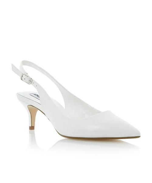 White Slingback Kitten Heel Shoes