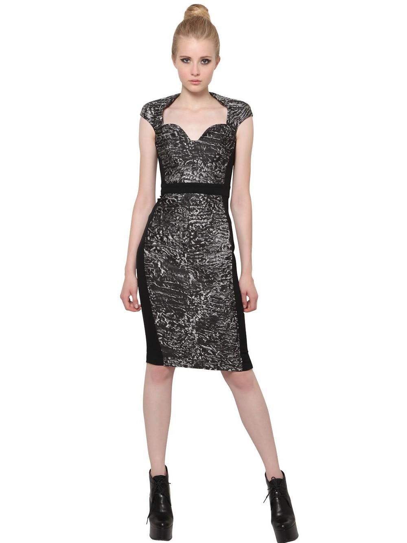 ANTONIO BERARDI Silk Jacquard And Techno Cady Dress in black / grey
