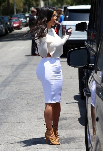 kim kardashian shoes skirt sweater shirt blouse