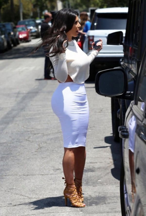 kim kardashian shoes skirt sweater shirt blouse cream white crop crop tops pencil skirt red dress heels brown tan
