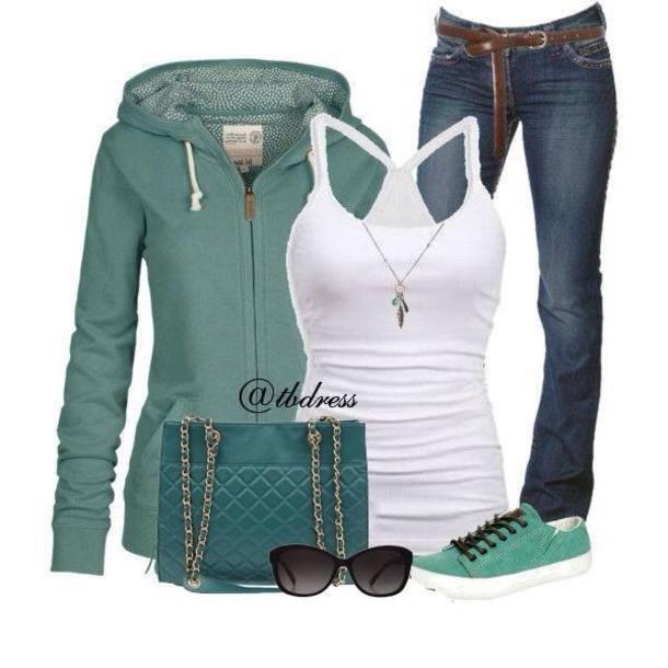 bag sunglasses shoes jacket jeans tank top