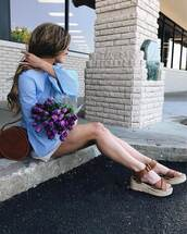 shoes,tumblr,sandals,brown sandals,flat sandals,top,blue top,bell sleeves,bag,brown bag,round bag,flowers,spring outfits