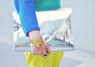 bag clutch metallic clutch silver clutch cuff bracelet bracelets sweater blue sweater statement ring ring