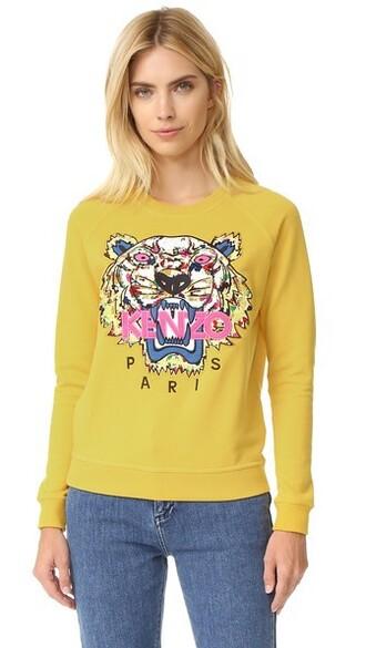 sweatshirt tiger print mustard sweater