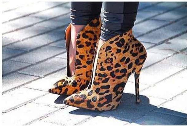 shoes heels print leopard print boots