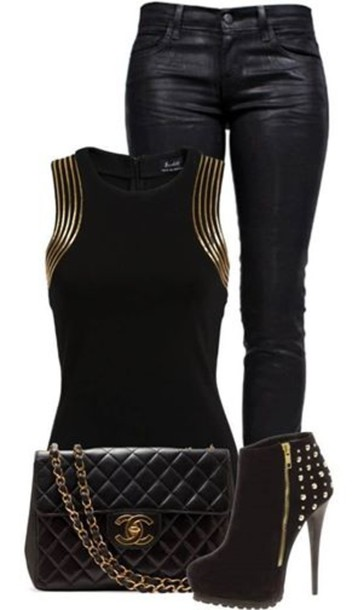 tank top blouse shoes jeans gold black top shirt black leather pants bag outfit idea sleeveless