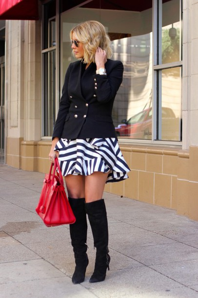 the courtney kerr blogger ruffle blazer red bag striped skirt