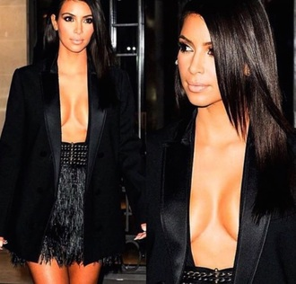 dress blouse open front deep v neck dress kim kardashian dress