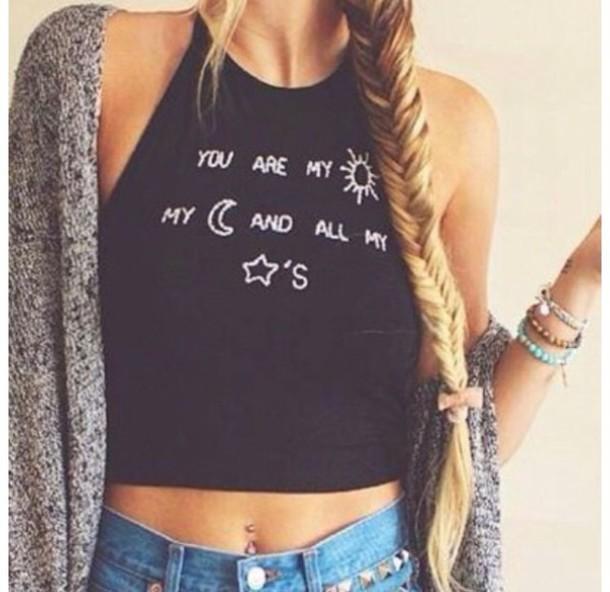 top shirt tank top black crop tops grunge zaful boho moon casual fashion tumblr quote on it