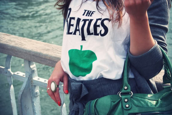 girl clothes girly band t-shirt the beatles green