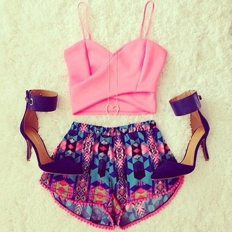 shorts pink crop tops shoes purple