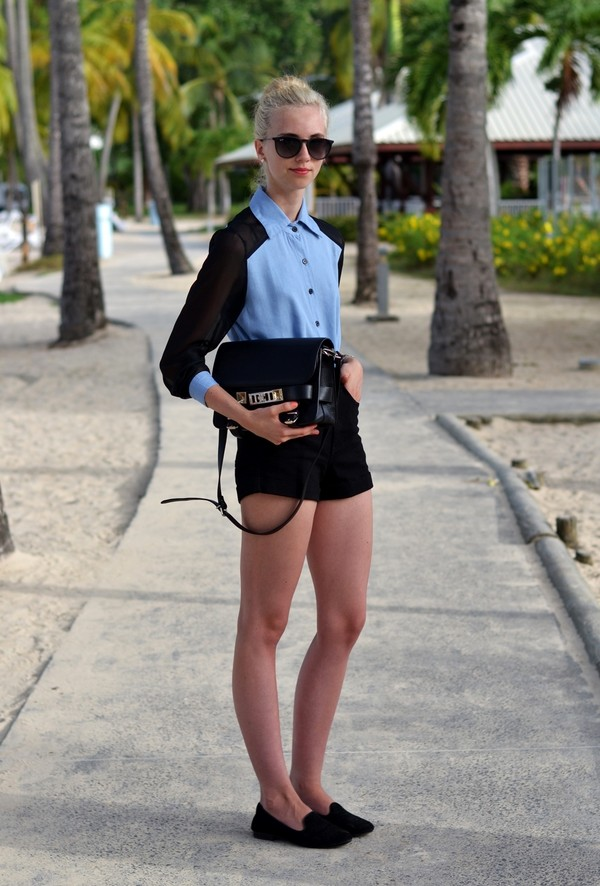 vogue haus blouse shorts shoes bag jewels sunglasses