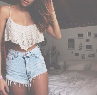 top crop crop tops hipster bra bralette shorts denim lace blonds blonde hair tan jb fashion inspo inspiration thinspo we heart it