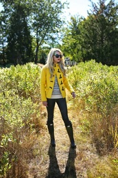 atlantic pacific,blogger,sunglasses,bag,hunter boots,duffle coat,wellies,striped sweater,yellow coat
