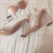 sunglasses,cat eye,rose gold,rose gold ring,accessories,heels,shoes,clear,clear clutch,clear shoes,clear heels,pink sunglasses,make-up,outfit,fall outfits