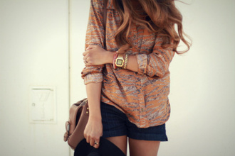 blouse smexy button up orange bag jewels sweater cool funny fashionista fall outfits autumn/winter fall colors '#autumn shorts watch style cute outfits hipster