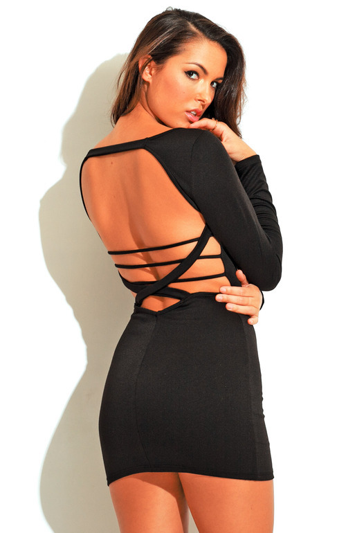 Caged backless deep v mini dress