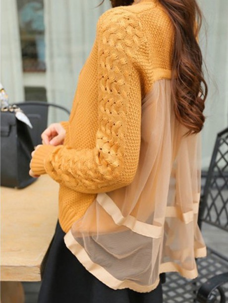 sweater yellow knitwear fashion style warm long sleeves fall outfits trendsgal.com