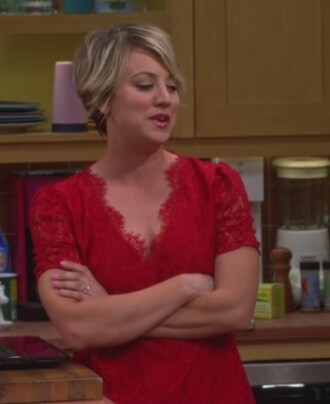 top red lace v neck penny big bang theory kaley cuoco