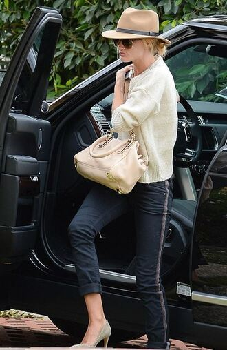 pants sweater hat pumps rosie huntington-whiteley
