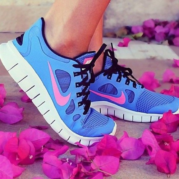 shoes nike blue pink purple run white black nike