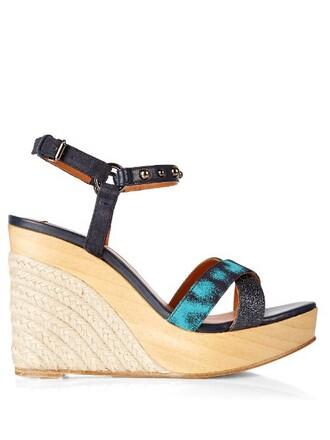 embellished sandals wedge sandals leather blue shoes