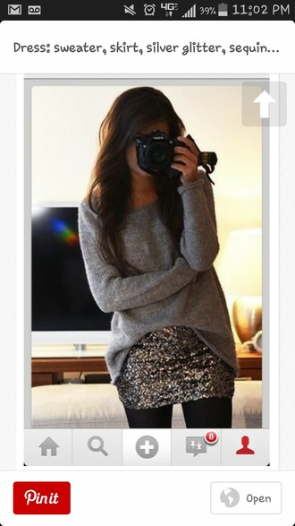 sweater gold sequins oversized sweater midi skirt cr?me