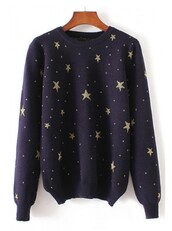 sweater,stars,jumper,cool,trendy,style,fashion,navy,fall outfits,beautifulhalo