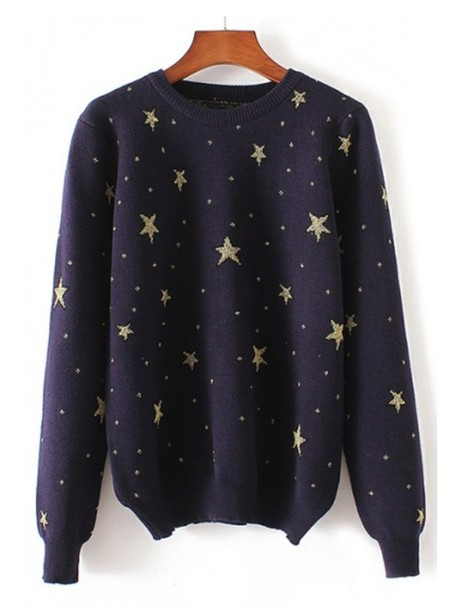 sweater stars jumper cool trendy style fashion navy fall outfits beautifulhalo