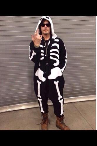 t-shirt onesie norman reedus black white skeleton menswear