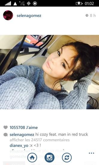 jumpsuit selena gomez instagram clothes top pants pajamas grey wool grey sweater